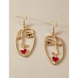 Hollow Out Abstract Face Design Drop Earri…